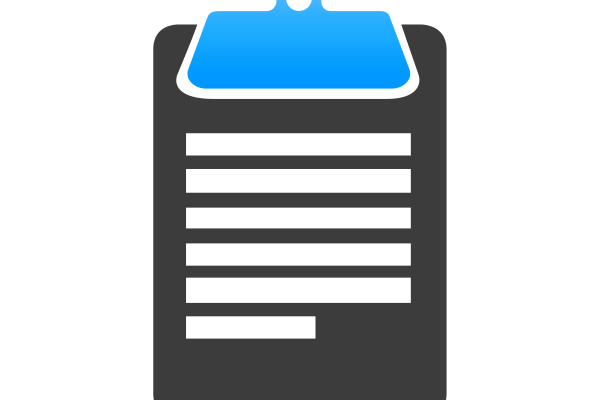 Grey and blue clipboard icon