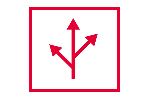 Cubiks' Simulations Icon in red of box with path branching into three direction arrows in center