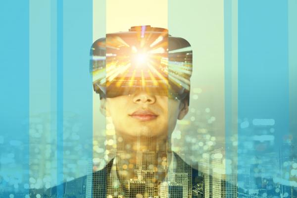 Lady wears virtual reality VR headset for talent management assessment with cityscape in background