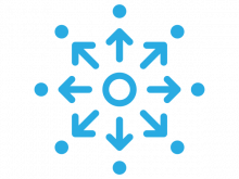 Cubiks' talent development icon in blue of circle of arrows pointing outwards
