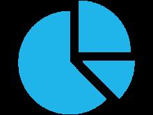 pie chart blue graphic